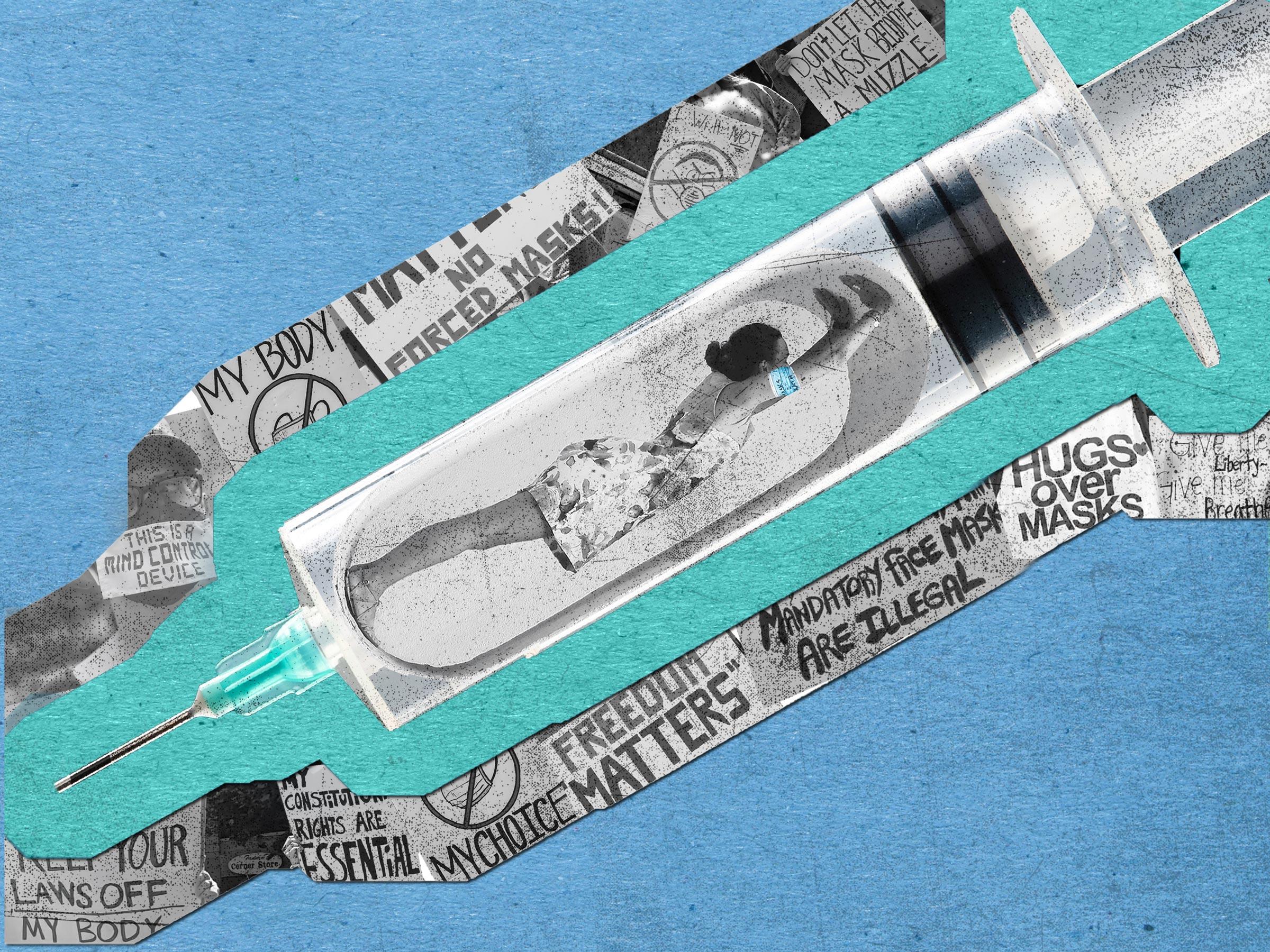 election collage - nurse in syringe
