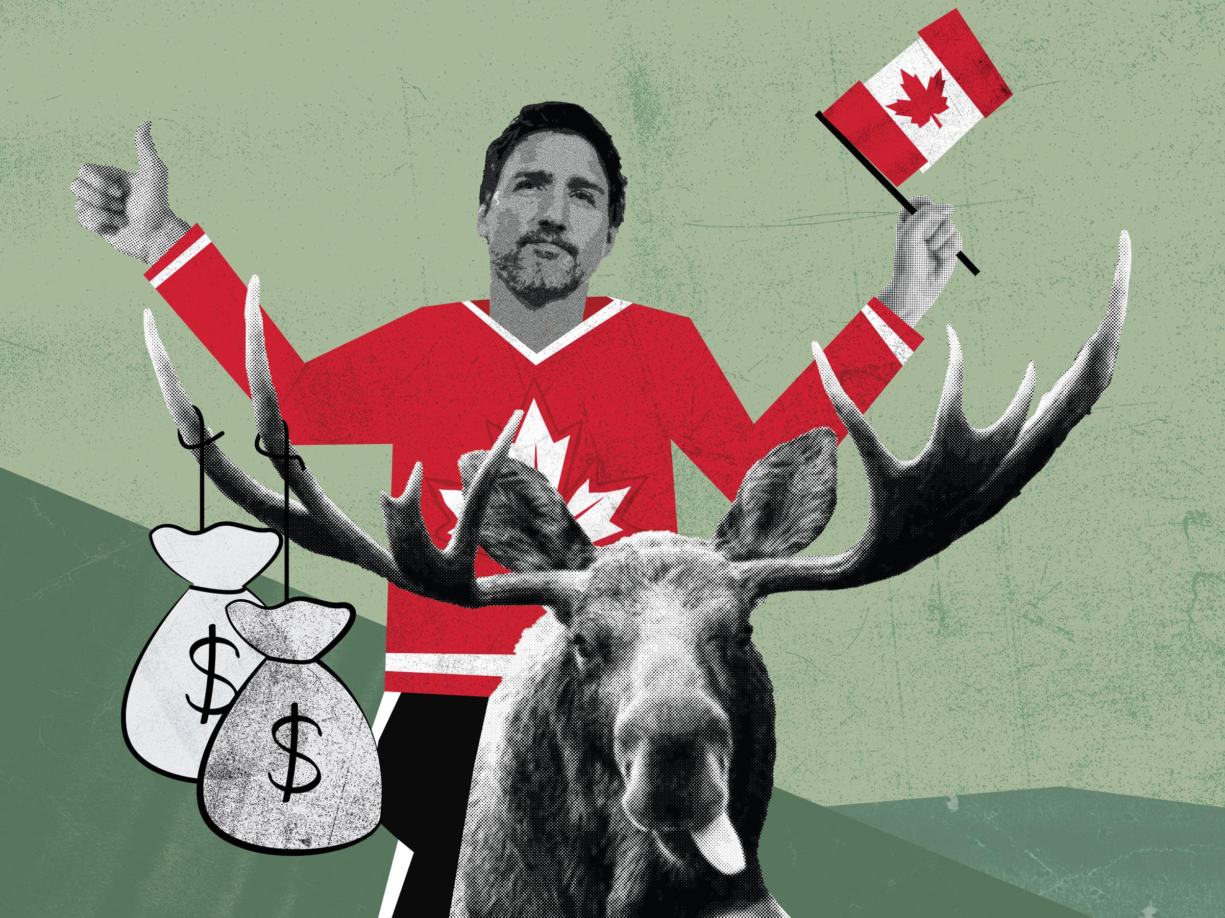 Justin Trudeau riding a moose